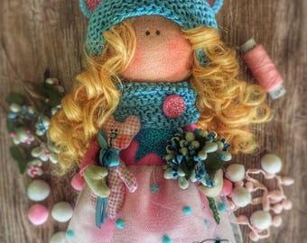 In stock, Interior handmade doll, textile doll, fashion doll, bear doll