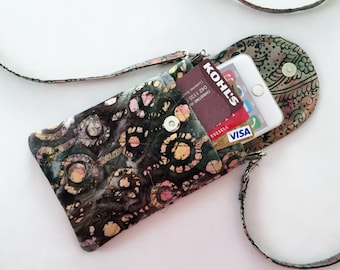 Iphone 6 and 7 Plus Smart Phone Gadget Case Batik Print Detachable Strap Pink Brown Green