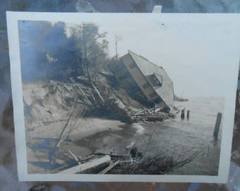 Vtg 1920's Found Photo Mackinaw Island House Collapsed Damaged