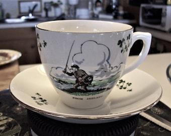 Ireland, Carrigaline Pottery, fisherman cup and saucer, irish clover