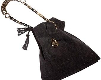 Elegant Shoulder Bag Glitter Leather - Bucket Purse w. Chain Handle - Glamour Drawstring Bag - Christmas Gift - BUCKET GLITZ