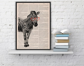 Geek Zebra (with Glasses) Print On Vintage Zebra Print Book Print  Dictionary Art Home
