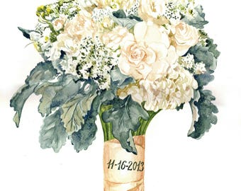 Custom Wedding Bouquet Painting Personalized Wedding Gift ORIGINAL Bridal Bouquet Painting Anniversary Gift Custom painting from photo