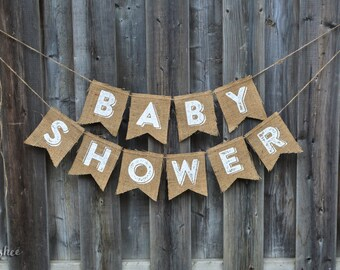 BABY SHOWER BURLAP Vintage style Banner - Rustic Baby Shower Burlap Banner - Beautiful Vintage Font