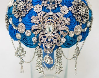 Brooch Bouquet, Blue Fabric Bouquet, Unique Wedding Bridal Bouquet