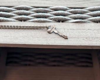 love key necklace • vintage repurposed key necklace • hand stamped • key necklace keepsake • boho necklace