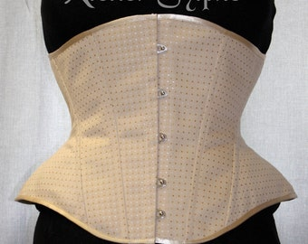 27 inches waist size underbust boned coutil corset chestnut dots pattern fabric READY TO WEAR