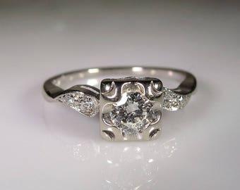 Engagement Ring, Diamond Engagement Ring, 14K White Gold Ring, Wedding Ring, Art Deco Ring, Anniversary Ring, Vintage Engagement Ring, S 6.5
