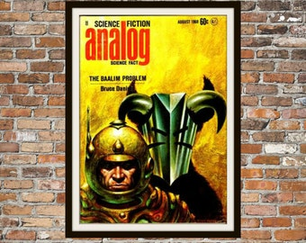 Sci fi Print Poster, Analog Vintage Magazine Print, Vintage Print, Dime Magazine, Analog Magazine Sci-Fi Art Item 0193