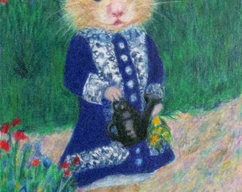 "Custom Portrait of Your Pet in Renoir's Girl with Watering Can, 5 x 7"""