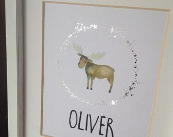 Real Silver Foil Moose Nursery Decor Custom Name Wall Art Woodland Moose Boy's Bedroom Decor Custom Baby Gift 8x10 New Baby Name Gift