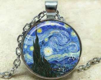 Vincent Van Gogh The Starry Night Photo Art Pendant, Starry Night necklace, Starry Night pendant, Van Gogh necklace, Van Gogh Pendant#AR145P