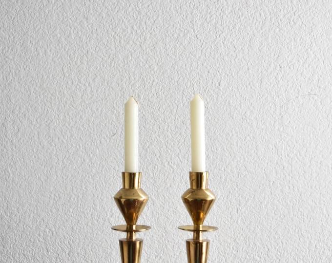 ornate brass candlestick holders / hollywood regency / set of 2