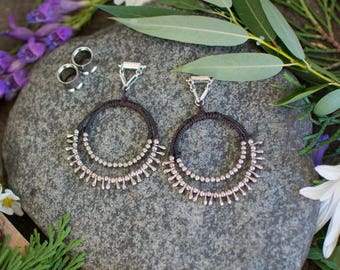 Available in Purple/Black - Wire Wrapped String Magnetic Clasp Gauged Earrings