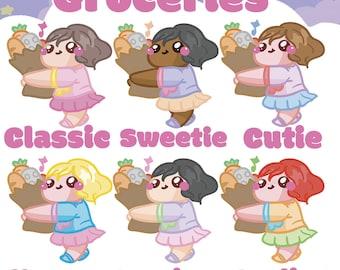 Grocery Shopping Sammie    Planner Stickers, Cute Stickers for Erin Condren (ECLP), Filofax, Kikki K, Etc.    AS17