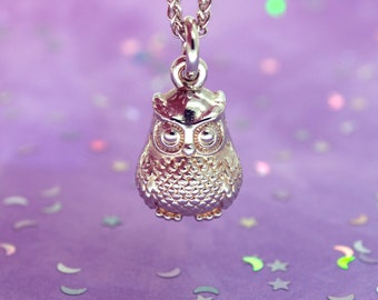 Silver Owl Necklace   Handmade Jewellery   Owl Charm Pendant   Owl Gift   Cute Necklace