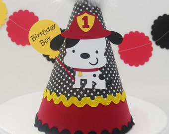 Lil' Firedog Birthday Party Hat - Personalized - Fireman party