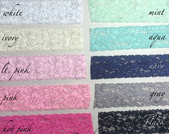 "1.5"" Elastic Lace, Lace by the yard, Stretch Lace, FOE Elastic, Lace Trim, Elastic Headband, Stretch Elastic, Headband Lace, Lace Fabric"