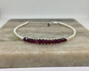 Garnet Bracelet, Pearl Bracelet, January Birthstone, Sterling Silver, Gift For Her, Birthday Gift, Weddings, Dainty Bracelet, Christmas Gift