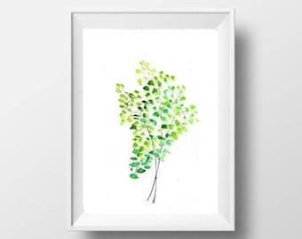 Free shipping maidenhair Fern leaf watercolor painting split plant art print lime green decor print plant wall art 8x10 8x12