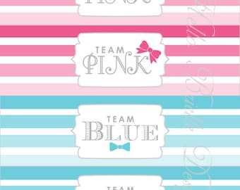 Ombre Gender Reveal Party Printable Water Bottle Labels Baby Blue and Pink - Digital Download
