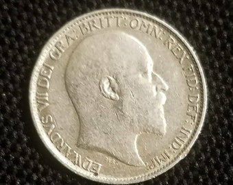 GENUINE 1906 Great Britain Sixpence Sterling Silver Coin