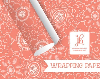 "Gift Wrapping Paper | Floral Gift Wrap | Party Paper | Coral Mulberry Wrapping Paper | Party Paper | 20"" x 29"" Wrapping Sheet"