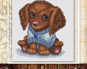 Puppy cross stitch pattern dog cross stitch animal cross stitch puppy embroidery baby cross stitch dog lover gift dog portrait cross stitch