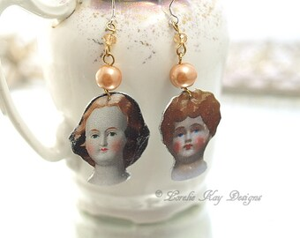 A Study in Dolls Mismatched Earrings Antique Doll Images Earrings Pretty China Doll Heads Lorelie Kay Original