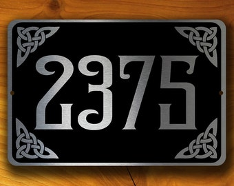 PERSONALIZED ADDRESS SIGN, Outdoor Address Signs, Celtic Address Plaque, Hanging Address Sign, Hanging Address Plaque, Celtic Address Plaque