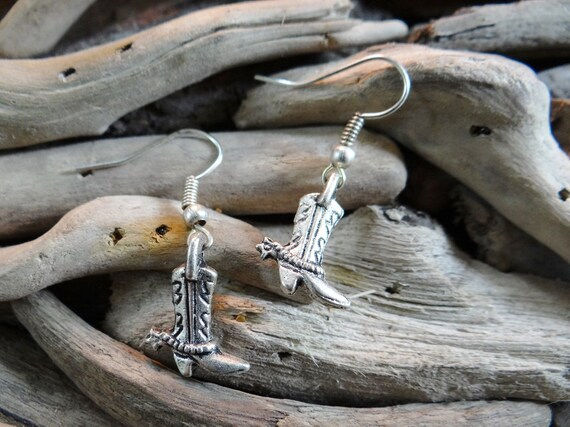 Cowboy Cowgirl Boot Earrings Boots Cow Boy Girl Rodeo Bullriding Horse Bull Riding Country and Western Wild West Earring Hooks Silver Toned