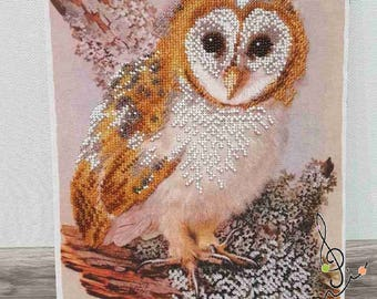 Picture embroidered with beads- owl