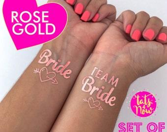 Rose gold bachelorette tattoos, TEAM BRIDE Heart, Bachelorette party, bachelorette party favors, temporary tattoo, bachelorette tattoo