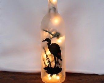 Heron Lighted Wine Bottle Lamp - Wine Gift, Gift for Mom, Wine Decor, Gifts For Her, Wine Bottle Light, Accent, Beach, Bird, Housewarming