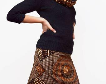 African print skirt, reversible skirt with African wax fabric, mini skirt, short skirt, ethnic skirt, ankara clothes, ethnic brown pattern