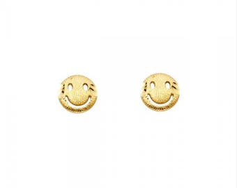 14K Solid Yellow Gold Smiley Face Stud Earrings - Smiling Smile Happy