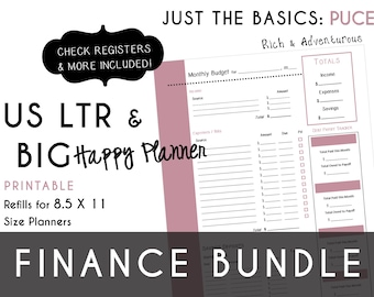 USLTR/BIG Happy Planner Finance Bundle Check Register, Monthly Budget, Debt Payoff Tracker, Debtor Contacts Passwords PDF - Puce