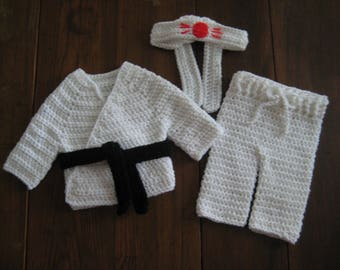 Baby Karate Uniform Outfit; Crochet Martial Arts Uniform Outfit; Newborn Baby Karate Martial Arts; Infant Karate Outfit; Baby Photo Prop