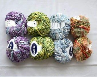 SALE fancy scarf yarns, fluffy scarf college team scarf yarn, sashay yarn, eyelash furry Flamenco yarn, knit crochet Rumba Salsa yarn 50 gr