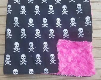 Glitter skull and crossbones hot pink baby blanket