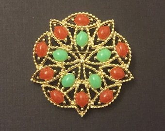 Vintage Sarah Coventry Gold Round Faux Jade Faux Coral Brooch