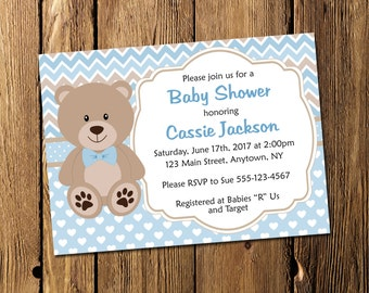 Printable Teddy Bear Boy Baby Shower Personalized Invitation