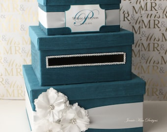 Wedding Card Box, Card Holder Money Box - choose your box & flower colors