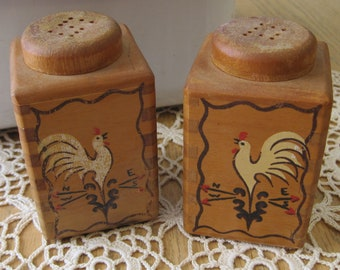 Kitschy Pair of Vintage Wooden Salt and Pepper Shakers with Roosters Redbird Line Japan