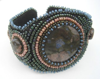 Blue Rhyolite Bead Embroidery Cuff Bracelet with Pink and Green Seed Beads
