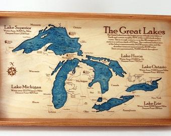 Great Lakes Serving Trays. Great Lakes. Serving Tray. Nautical Art. Nautical Gift. Made in the USA. Great Lakes Map. Great Lakes chart