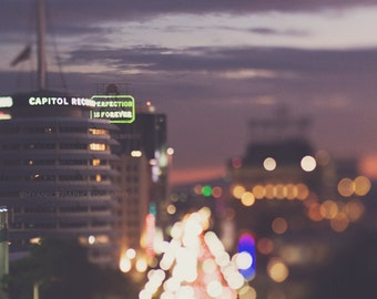 LA photography, Hollywood at night, Capitol Records photo, bokeh, gold, Los Angeles, twinkle, sparkle lights, purple, abstract, music, plum
