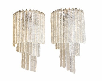 "Murano glass ""icy"" wall sconces"