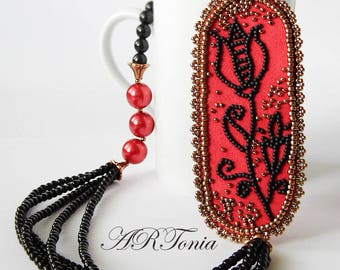 Bead embroidery necklace Black Tulip OOAK pearl multistrand necklace black and red beaded necklace beadwork handmade jewelry beaded jewelry