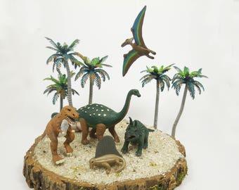 Miniature Dinosaurs Diorama Figurines ~ Prehistoric Tyrannosauras, Triceratops, & Other Jurassic Creatures ~ Diorama Animal Miniatures